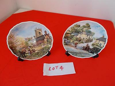"""2 Royal Doulton """"Village Life"""" by Anthony Forster decorative plates 1989"""