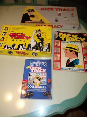 Vintage DICK TRACY Lot of 4 items Board Games Guide Book Comic Book