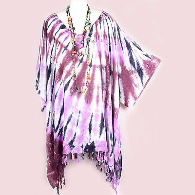CHEERFUL SUMMER TIE-DYE CAFTAN TUNIC TOP HIPPIE BOHO PLUS SIZE WOMENS 3X 4X 5X