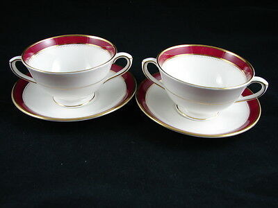 2 Cream SOUP Bowl & Underplate Sets COALPORT NORFOLK MARONE RUBY Red gold trim