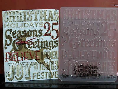 """Sizzix embossing folder - CHRISTMAS SENTIMENTS - by Tim Holtz - 4 1/4"""" x 5 3/4"""""""