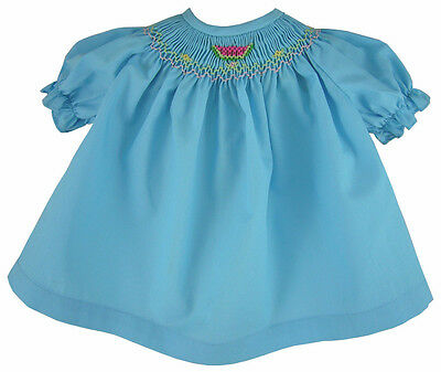 Aqua Blue Hand Smocked Dress for Bitty Baby + Twins Dolls Embroidered Watermelon