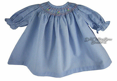 Blue Gingham Hand-Smocked Dress w/ Pink Flowers for Bitty Baby + Twins Dolls