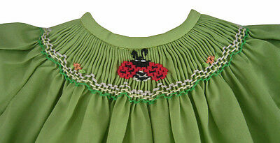 Green Hand-Smocked Dress W/ Ladybug & Bloomers for Bitty Baby Doll Clothes