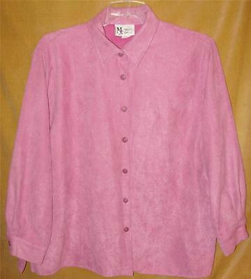 Maggie Sweet size Petite 1X pink long sleeve lined button shirt Free Ship