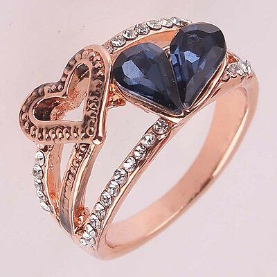 Women New 14k Gold Filled Sapphire Austrian crystals Size 9.0 Ring Gift B371