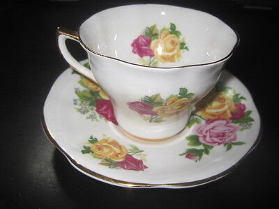 Regency Fine English bone china pink,yellow & Red Roses  teacup and saucer set
