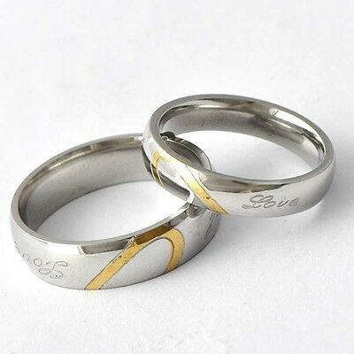 Vintage Yellow/White GF Womens Men's Band Ring Sets Size 7 & 9# D4461