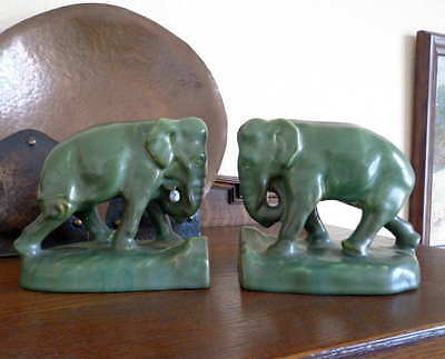 Rookwood Arts and Crafts Bookends Trunk Down Elephants Matte Green 1927 2444D
