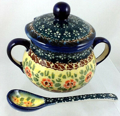Polish Pottery Lidded Sugar Bowl With Matching Spoon Signature WKLZ Rosemarie