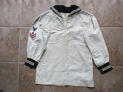 c. Early 1900s U.S. Navy Sailor's Shirt Blouse w Early Red & Blue Rate Insignia