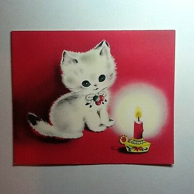 Vintage Unused Norcross Ermine Xmas Greeting Card Sweet White Kitten On Pink