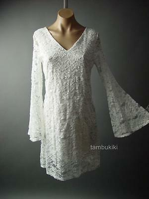 Antique Style Embroidered Lace Bell Sleeve Vtg-y Romantic Boho Day 63 ac Dress S