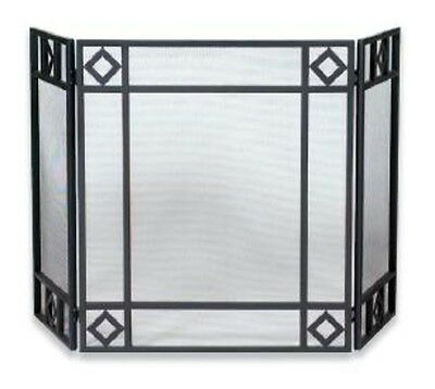 Uniflame 3 FOLD BLACK WROUGHT IRON SCREEN w/DIAMOND DESIGN S-1194 NEW