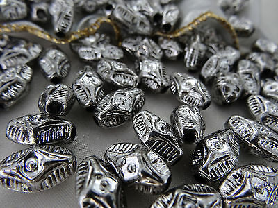 9x14mm 20grams ~ 50pcs ANTIQUE SILVER COLOR FACETED ACRYLIC OVAL BEADS AB02223