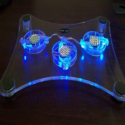 New USB 3 Fan Blue LED Light Laptop Notebook Cooling Cooler Pad Stand Thick