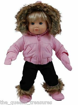 "15"" DOLL CLOTHES MADE FOR AMERICAN GIRL's  BITTY BABY TWIN Pink Snow Suit Hand"