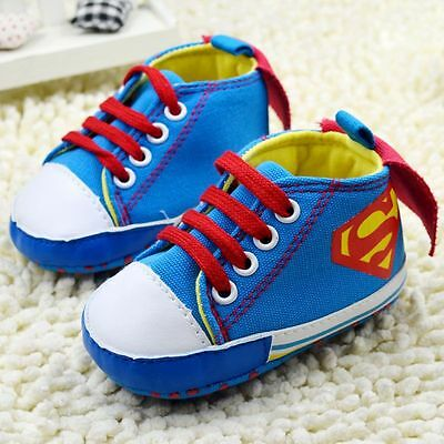Baby Boy  'Superbaby' ..  'Superman'  Blue Pre Walker Boots  .. Shoes With Cape