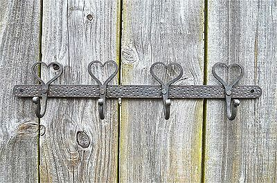 Beautiful Hand Wrought Iron Shaker Heart Hanging Hook Bar Rack Coat Hooks