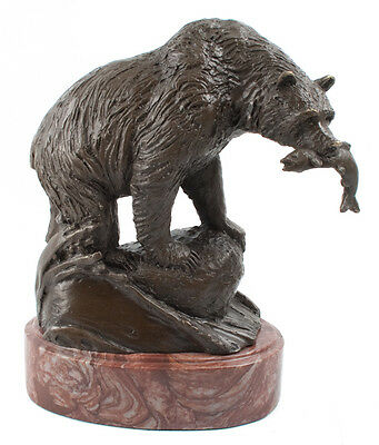 Hot Cast Bronze Bear Hunting On Heavy Marble Base Jim Ponter