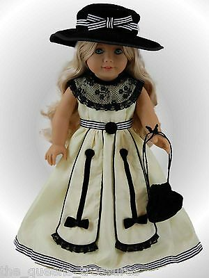"18"" Doll Clothes Fits American Girl COLONIAL BALL Gown, Hat, Purse Clothing"