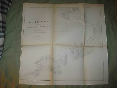 Antique 1854 Deep Bay Okinawa Japan Commodore Perry Map Asia Maritime Chart Rare