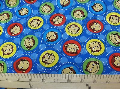 """1 yard Curious George """"Faces""""  Fabric"""