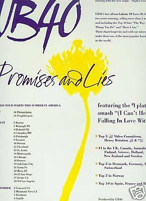 UB 40 preserved 1993 PROMO POSTER AD Promises TOUR INFO