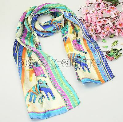 Beautiful Abstract Animals Colorful Cat Pattern 100% Silk Scarf Shawl