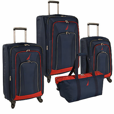 NAUTICA TIMONEER NAVY RED 4 PIECE EXPANDABLE SPINNER LUGGAGE SET $1140 VALUE