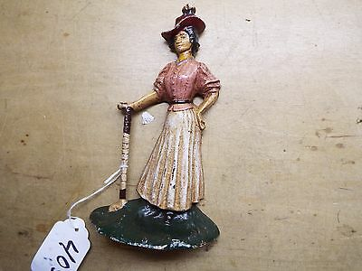 Vintage Cast Iron DOOR STOP OLD TIME LADY GOLFER  1930s