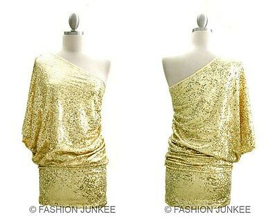 GOLD C6064 SEQUIN ONE SHOULDER Mini Dress Sexy Clubwear Cocktail Shiny New M