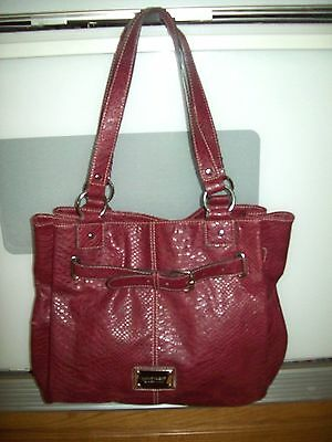 Nine West purse Extra Large dark red reptile embossed faux leather