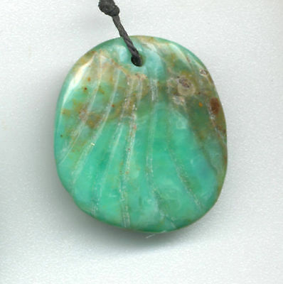 CARVED PERUVIAN OPAL SHELL SHAPE PENDANT BEAD - 4218 - 32X28X8MM