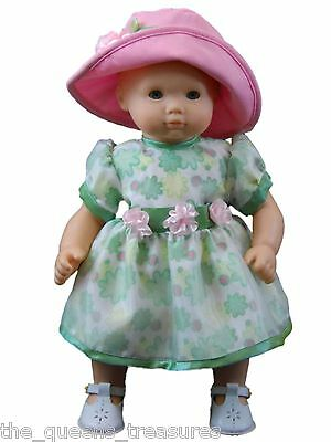 """DOLL CLOTHES FOR AMERICAN GIRL 15""""BITTY BABY Green Floral Dress & Pink Hat"""