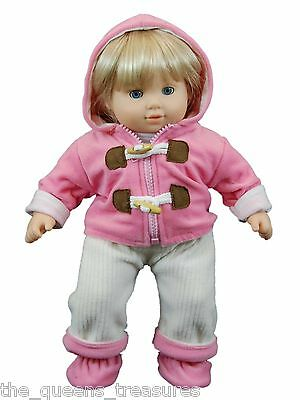 """CLOTHES FOR 15"""" BITTY BABY DOLLS Twin Outfit Pants,Jacket,Shirt,Shoes Pink/Cream"""