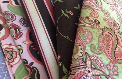 4 Yards Coordinating Cotton Fabric, '09 Brother Sister Design Pink, Brown, Green