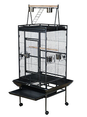 "68"" Large Bird Cage Play Top Parrot Finch Cage Macaw Cockatoo Pet Supplies Black"