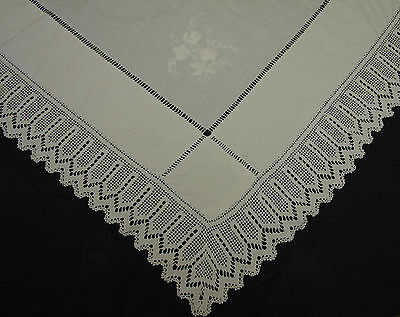 VINTAGE ANTIQUE WHITE COTTON TABLECLOTH EMBROIDERY CROCHET 38' x 38""
