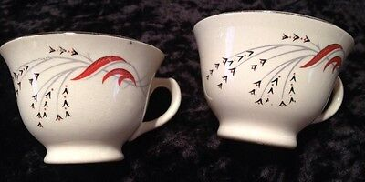 2 Rare 1950s Vintage Taylor Smith Taylor Coffee/Tea Cups Red Wheat Black Gray