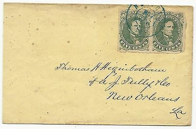 CSA Scott #1 Pair on Cover Blue Norfolk, VA CDS Nov 1, 1861 Trans-Miss to NO