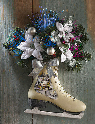 HOLIDAY COLOR CHANGING FIBER OPTIC DOOR ICE SKATE CHRISTMAS DECOR NEW
