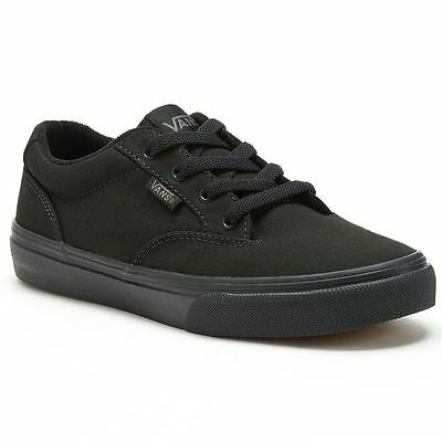 Boy's Youth VANS WINSTON All Black Canvas Athletic/Casual Skate Shoes NEW