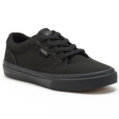 Boy's Youth VANS WINSTON Black/Black Canvas Casual Skate Shoes NEW