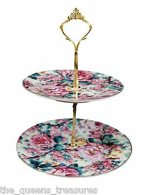 TWO TIER COOKIE TIDBIT TEA PARTY SERVING TRAY English Rose FACTORY SECOND NEW