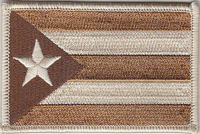 Puerto Rico PR Territorial Flag Patch DESERT TAN/BROWN  (police/military)