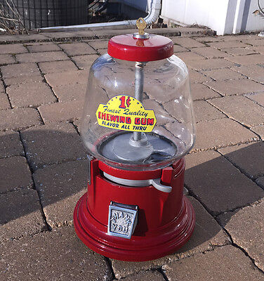 30's Coin Op Penny Sel-Mor Antique Vending Gumball Nut Candy Machine Works 1cent