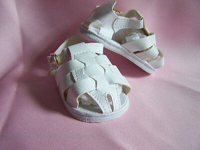 Reborn Doll Shoes Fisherman Sandles White  85mm-REBORN DOLL CLOTHING AND SUPPLIE