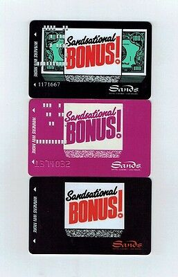 LOT of 3 SANDS Casino Las Vegas SLOT CARD / Players Club - SANDSATIONAL Bonus!