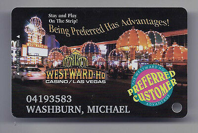 WESTWARD HO Casino Las Vegas SLOT CARD / Players Club - NIGHT VIEW -Closed 2005